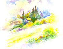 Ландшафт леса красочной акварели вектора красочный Стоковые Изображения RF