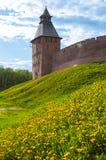 Ландшафт лета архитектуры башни спасителя Veliky Новгорода Кремля, России Стоковая Фотография