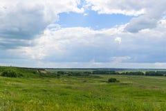 Ландшафт лета зеленых полей и облачного неба сельское место Стоковая Фотография