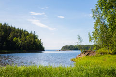 Ландшафт лета на острове Valaam в России стоковые изображения rf