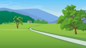 Ландшафт лета с иллюстрацией дороги Стоковая Фотография