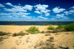 Ландшафт лета с песочным побережьем реки Стоковые Изображения RF