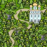Ландшафт лета с правоверным виском Христианская церковь в th стоковая фотография rf