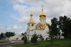 Ландшафт лета с православной церков церковью стоковое фото rf