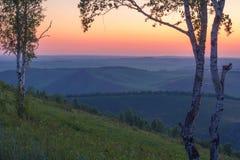 Ландшафт лета утра взгляд восхода солнца skrzyczne Польши 1257 высокий гор горы метров Природа Сибиря Стоковое фото RF