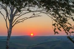 Ландшафт лета утра взгляд восхода солнца skrzyczne Польши 1257 высокий гор горы метров Природа Сибиря Стоковая Фотография
