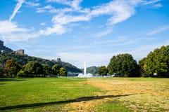 Ландшафт лета фонтана парка штата пункта в Питтсбурге, ручке Стоковые Фотографии RF