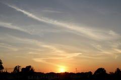 Ландшафт захода солнца в задворк Стоковые Фотографии RF