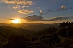 Ландшафт захода солнца в землях Португалии Стоковая Фотография RF