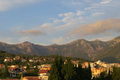 Ландшафт захода солнца в Черногории Стоковая Фотография RF