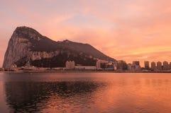 Ландшафт захода солнца Гибралтара Стоковые Фотографии RF