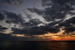 Ландшафт захода солнца от Jeju Стоковые Изображения RF