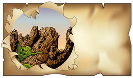 Ландшафт за пергаментом Стоковое фото RF
