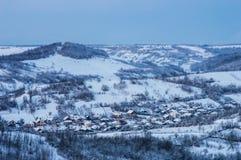 Ландшафт зимы вечера Стоковые Изображения RF