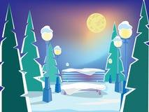 Ландшафт зимы вечера бесплатная иллюстрация