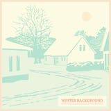 Ландшафт зимы, винтажная предпосылка рождества, карточка, иллюстрация штока