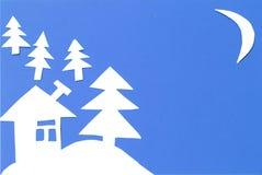 Ландшафт зимы высекаенный из бумаги стоковые фотографии rf