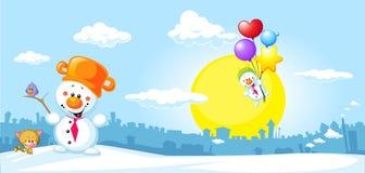 Ландшафт зимы городской с смешным снеговиком бесплатная иллюстрация