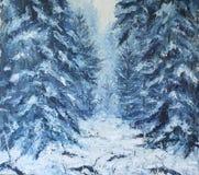 Ландшафт зимы леса, картина маслом Стоковые Изображения