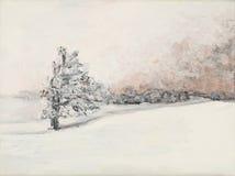 Ландшафт зимы, картина маслом Стоковая Фотография RF