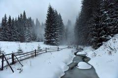 Ландшафт зимы малого снежного реки стоковое фото rf