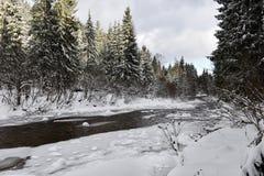 Ландшафт зимы малого снежного реки стоковая фотография