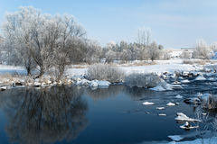 Ландшафт зимы на реке Стоковое Изображение RF