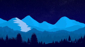 Ландшафт зимы ночи фантазии Стоковые Фотографии RF