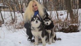 Ландшафт зимы при белокурая девушка играя с malamute сибирской лайки выслеживает снаружи сток-видео