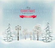 Ландшафт зимы рождества с фонарными столбами Стоковое Изображение RF