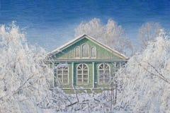 Ландшафт зимы сельский, картина маслом Стоковая Фотография RF