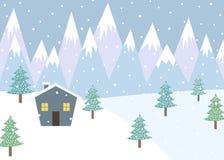 Ландшафт зимы с горами и малым коттеджем иллюстрация вектора