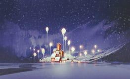 Ландшафт зимы с деревьями деревни и фантазии на ноче Стоковое Изображение