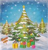 Ландшафт зимы с деревьями спруса зеленого цвета Стоковые Изображения RF