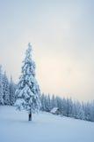 Ландшафт зимы с деревянным домом в горах Стоковая Фотография