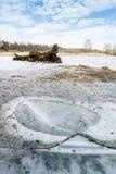 Ландшафт зимы с замороженным озером стоковое фото