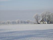 Ландшафт зимы с изморозью Стоковые Фото