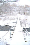 Ландшафт зимы с малым мостом Стоковые Фото