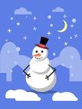 Ландшафт зимы с снеговиком в шляпе Стоковые Изображения