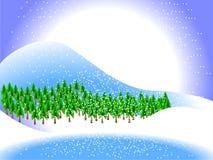 Ландшафт зимы с снежинками Стоковые Изображения