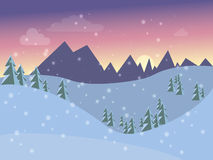 Ландшафт зимы для открытки в плоский стиль Стоковое Изображение RF