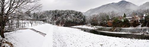 Ландшафт зимы, Shirakawago Стоковая Фотография RF