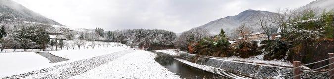 Ландшафт зимы, Shirakawago Стоковое Изображение