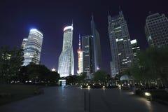 Ландшафт зданий наземного ориентира финансов & города Шанхая Lujiazui урбанский Стоковое Изображение RF