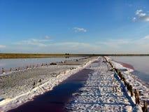 Ландшафт извлечения соли с солнцем Стоковые Изображения