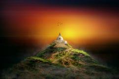 Ландшафт искусства концепции виска волшебный стоковое изображение