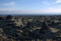 Ландшафт Исландии с равниной outwash и маяком Стоковое фото RF