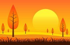 Ландшафт и заход солнца Стоковая Фотография RF