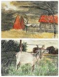 Ландшафт и коза эскиза иллюстрация вектора