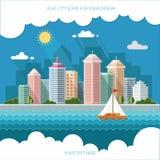 Ландшафт - иллюстрация городского пейзажа лета дизайн города, метро Стоковые Фото